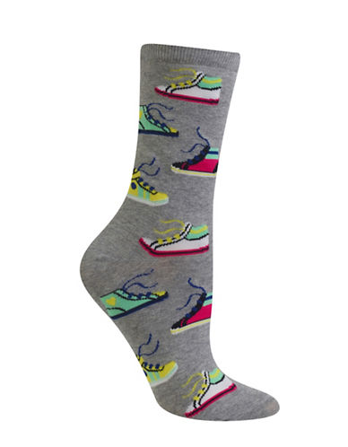 Hot Sox Sneakers Crew Socks-GREY-One Size