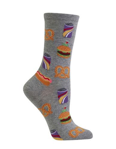 Hot Sox Street Food Crew Socks-GREY-One Size