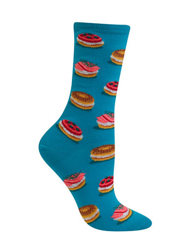Hot Sox Bagels Crew Socks-BLUE-One Size 88971665_BLUE_One Size