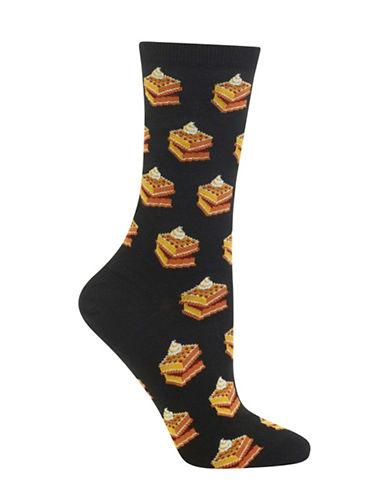 Hot Sox Waffle Crew Socks-BLACK-One Size 88971663_BLACK_One Size