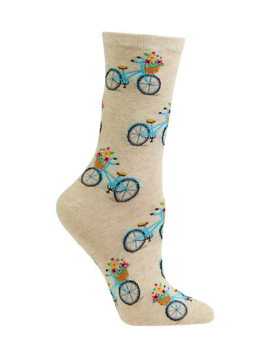 Hot Sox Bicycle Crew Socks-BEIGE-One Size