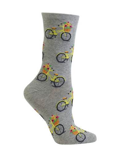 Hot Sox Bicycle Crew Socks-GREY-One Size