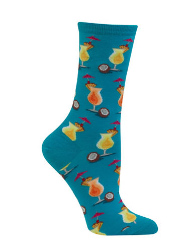 Hot Sox Pina Coladas Crew Socks-BLUE-One Size