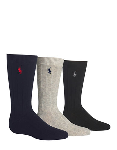 Ralph Lauren Childrenswear Three-Pack Polo Dress Rib Slack Socks 3Pack-ASSORTED-8-9.5