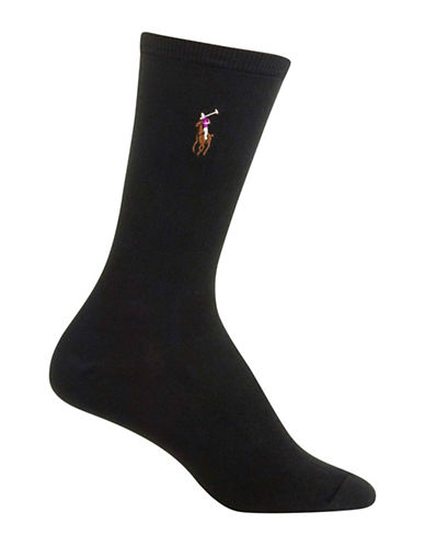 Polo Ralph Lauren Ribbed Logo-Printed Socks-BLACK-One Size