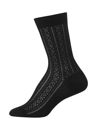 Polo Ralph Lauren Vertical Diamond Crew Trouser Socks-BLACK-One Size