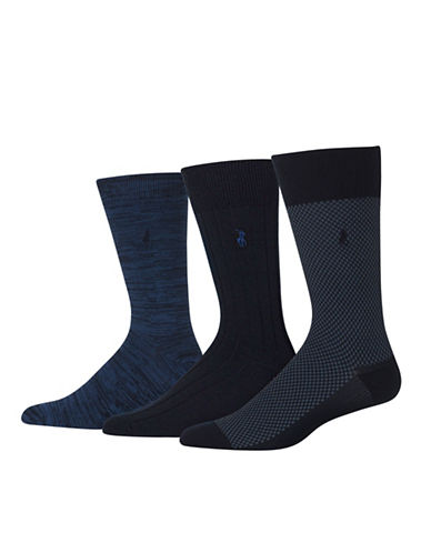 Polo Ralph Lauren Three-Pack Supersoft Birdseye Socks Set-NAVY-10