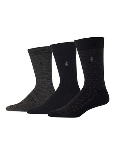 Polo Ralph Lauren Three-Pack Supersoft Diamond Socks Set-BLACK-10
