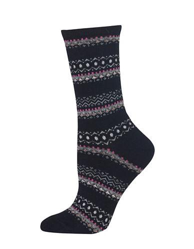 Hot Sox Fairisle Crew Socks-BLACK-One Size 89241425_BLACK_One Size