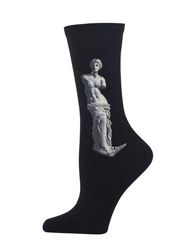 Hot Sox Venus De Milo Knitted Socks-BLACK-One Size