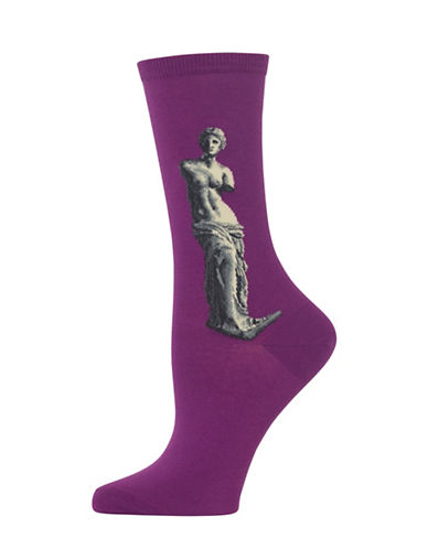 Hot Sox Venus De Milo Knitted Socks-PURPLE-One Size