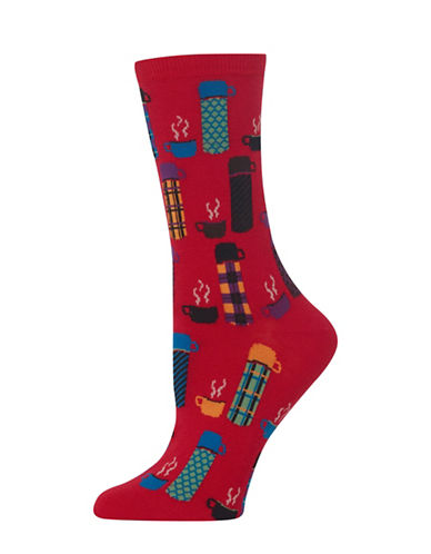 Hot Sox Thermos Knitted Socks-RED-One Size