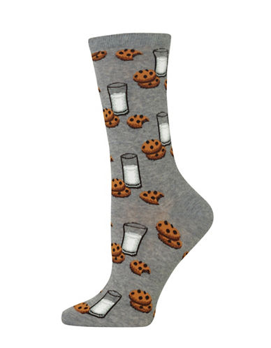 Hot Sox Milk And Cookies Knitted Socks-GREY-One Size