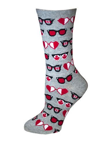 Hot Sox Canadian Glasses Crew Socks-GREY-One Size