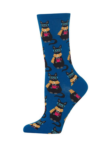 Hot Sox Coffee Cat Knitted Socks-BLUE-One Size