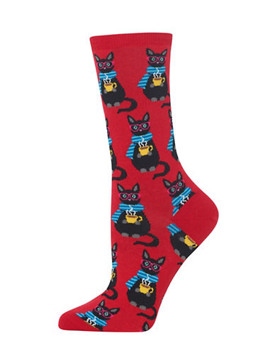 Hot Sox Coffee Cat Knitted Socks-RED-One Size