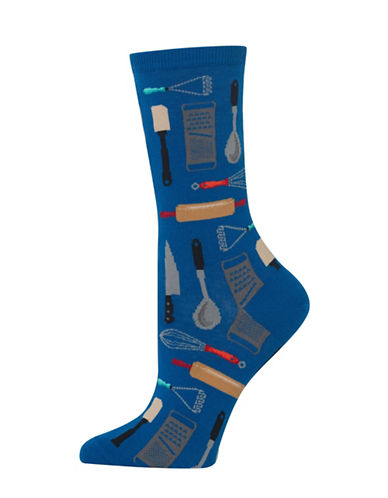 Hot Sox Kitchen Utensils Knitted Socks-BLUE-One Size