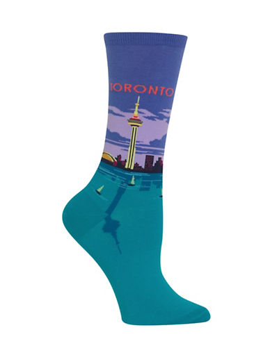 Hot Sox Toronto Knitted Socks-BLUE-One Size