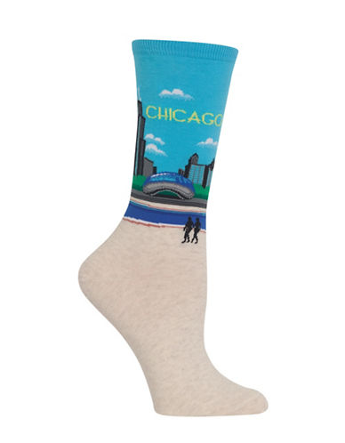 Hot Sox Chicago Knitted Socks-LIGHT BLUE-One Size