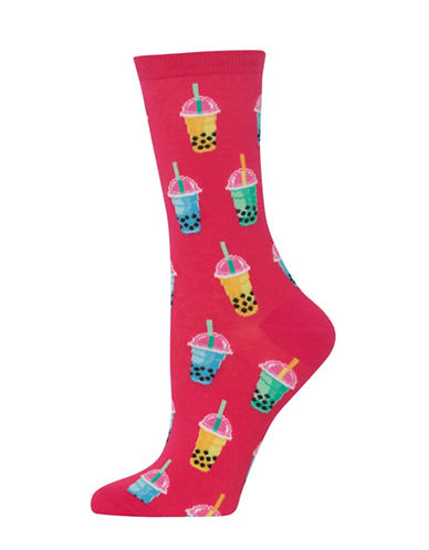 Hot Sox Bubble Tea Knitted Socks-PINK-One Size