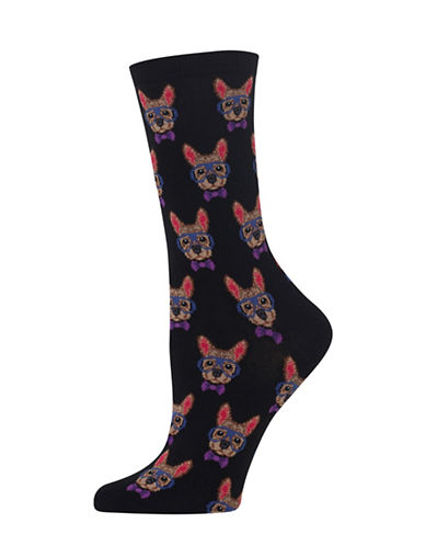 Hot Sox Smart Frenchie Knitted Socks-BLACK-One Size