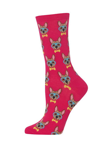 Hot Sox Smart Frenchie Knitted Socks-HOT PINK-One Size