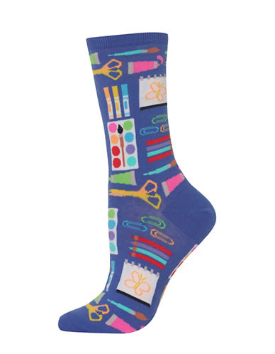 Hot Sox Art Supplies Knitted Socks-BLUE-One Size