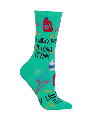 Hot Sox Laundry Day Knitted Socks-GREEN-One Size