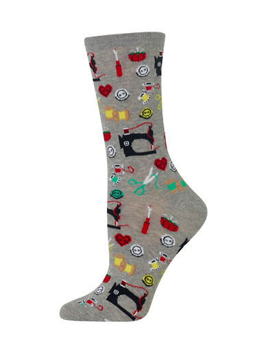 Hot Sox Sewing Supplies Knitted Socks-GREY-One Size