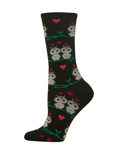 Hot Sox Owl Love Crew Socks-BLACK-One Size