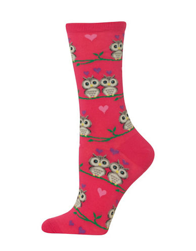 Hot Sox Owl Love Crew Socks-HOT PINK-One Size