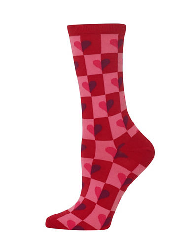 Hot Sox Half Hearts Crew Socks-RED-One Size