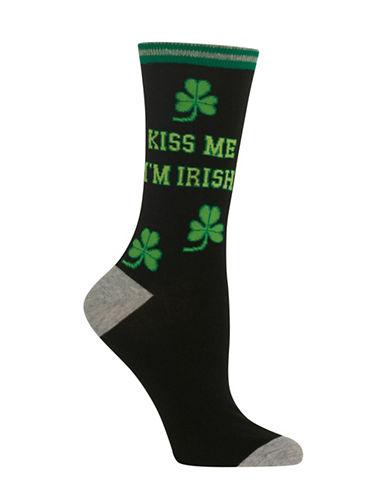 Hot Sox Kiss Me Im Irish Crew Socks-BLACK-One Size