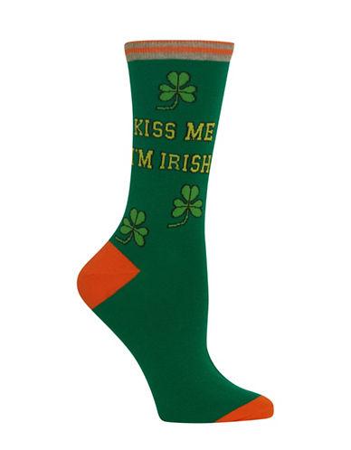 Hot Sox Kiss Me Im Irish Crew Socks-GREEN-One Size