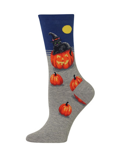 Hot Sox Cat Witch Knitted Socks-BLUE-One Size
