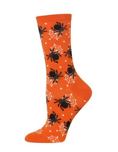 Hot Sox Spiders Knitted Socks-ORANGE-One Size