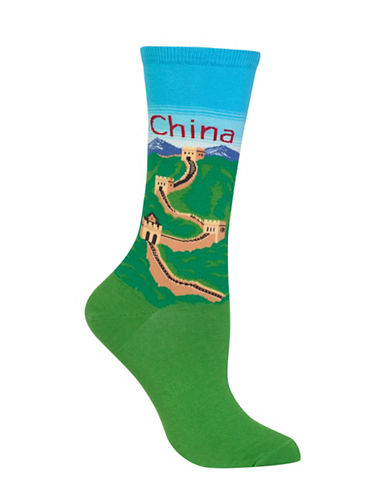 Hot Sox China Knitted Socks-LIGHT BLUE-One Size