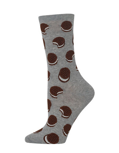 Hot Sox Sandwich Cookie Knitted Socks-GREY-One Size