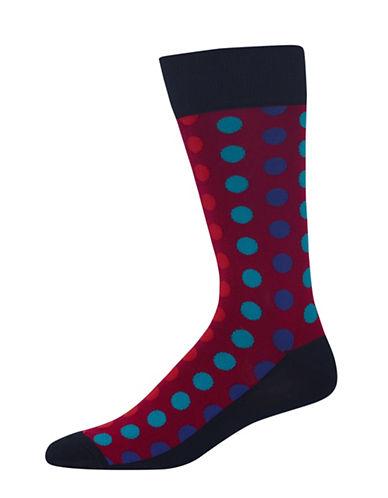 Hot Sox Mens Ombre Dots Socks-BLACK/RED-10