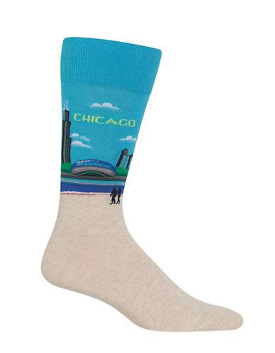 Hot Sox Chicago-Print Novelty Socks-LIGHT BLUE-10