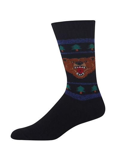 Hot Sox Novelty Bear Socks-BLACK-10