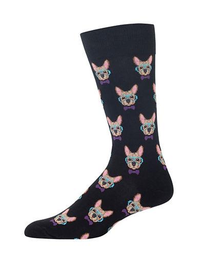 Hot Sox Smart Frenchie Socks-BLACK-10