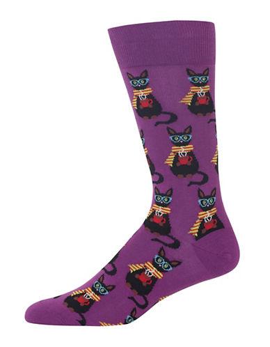 Hot Sox Coffee Cat Socks-PURPLE-10