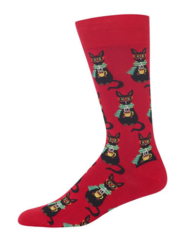 Hot Sox Coffee Cat Socks-RED-10