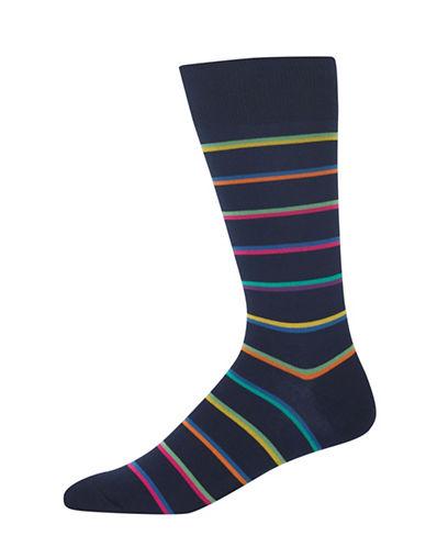 Hot Sox Multi-Striped Novelty Socks-NAVY BLUE-10