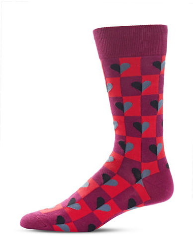 Hot Sox Half Hearts Printed Socks-WINE-10