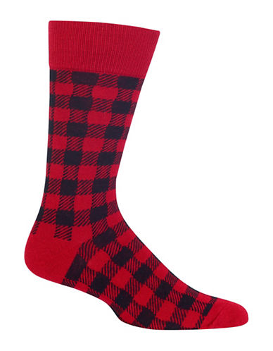 Hot Sox Cashmere-Blend Buffalo Check Socks-RED-10
