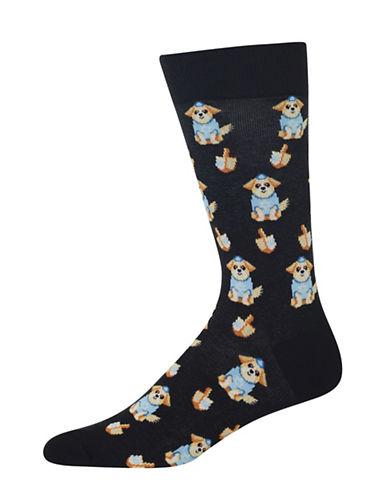 Hot Sox Dreidel Dog Socks-BLACK-10