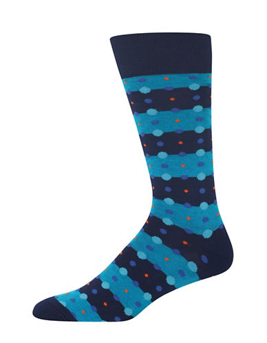 Hot Sox Feed Stripe Dots Socks-NAVY-10