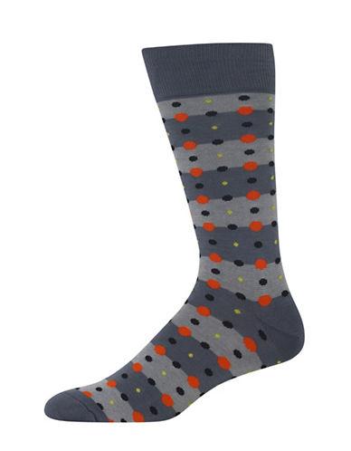 Hot Sox Feed Stripe Dots Socks-DARK GREY-10